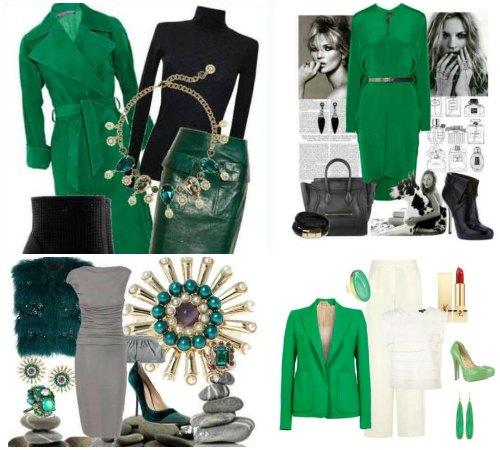 Сочетание зеленого цвета в одежде с ахроматическими тонами