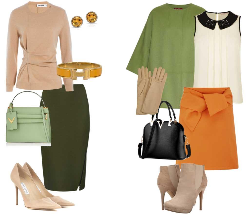 Сочетание зелёного и оранжевого цветов