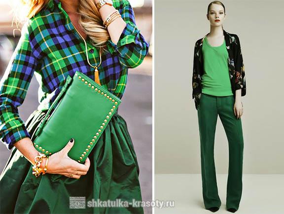 Темно-зеленый цвет в одежде