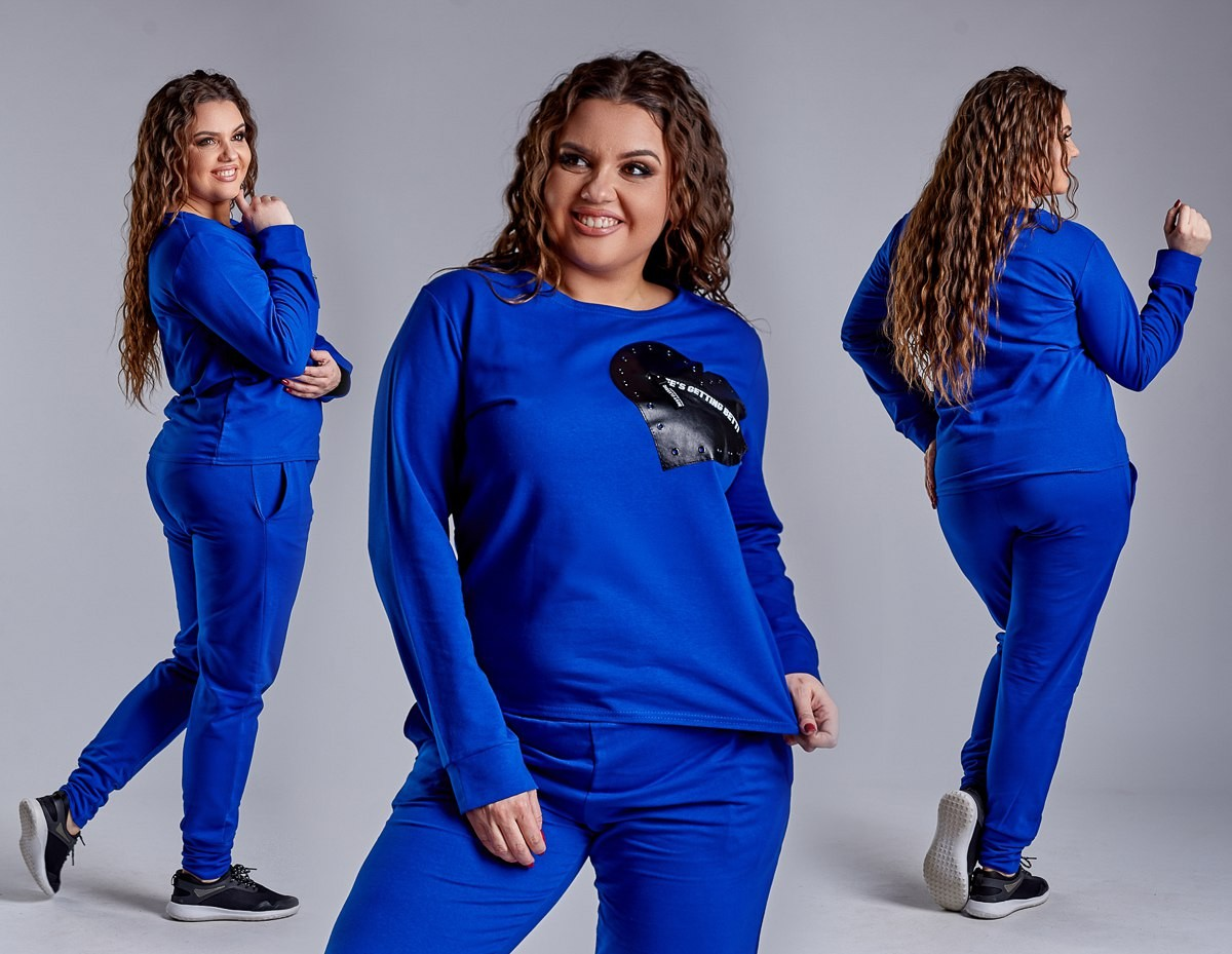 Женский спортивный костюм сердце большого размера