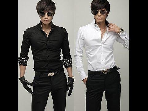 Черная и белая приталеная рубашка