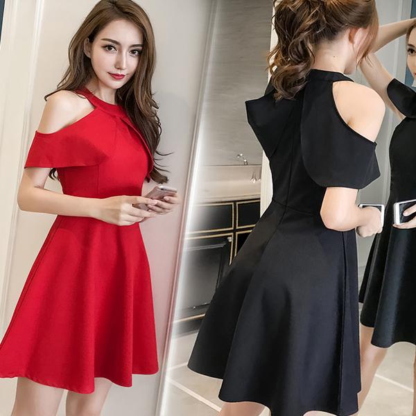 Черное и красное платье для девушки