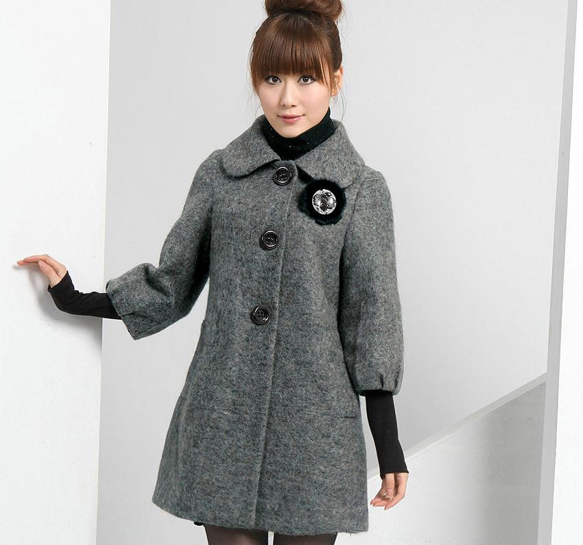 Драповое серое пальто