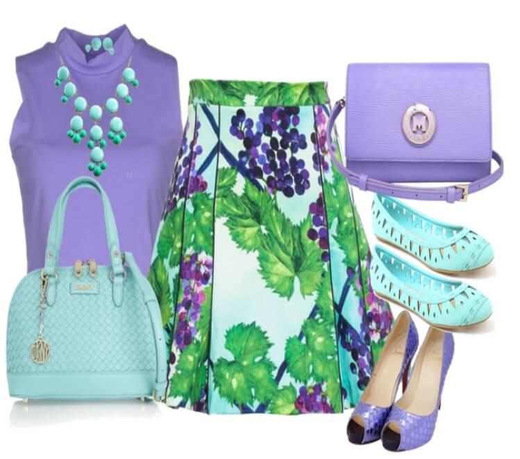 Комплект с мягким контрастом по насыщенности цветов с сочетанием мятного и лилового