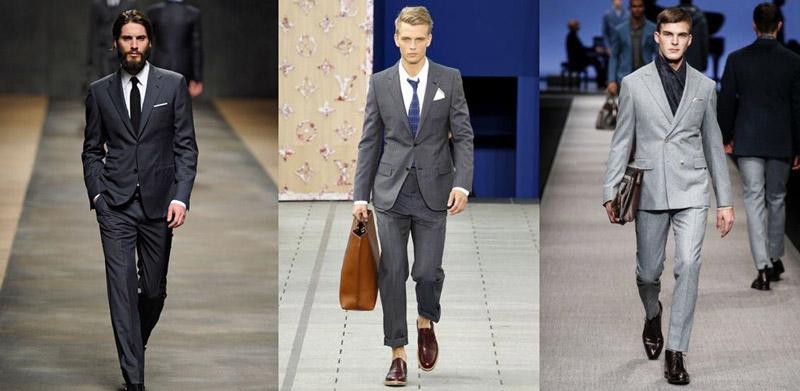 Модели в серых деловых костюмах