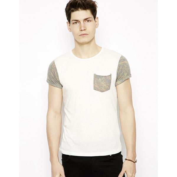 Мужская летняя рубашка с хлопком из хлопчатобумажной ткани с карманом