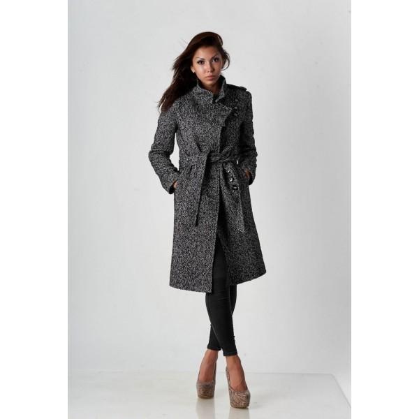 Пальто серое с поясом