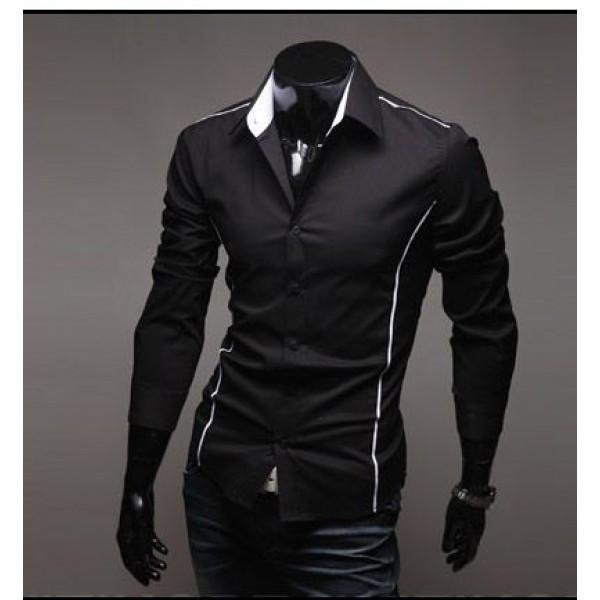 Рубашка черного цвета с длинным рукавом