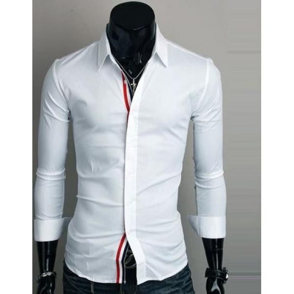 Современная мужская рубашка белого цвета