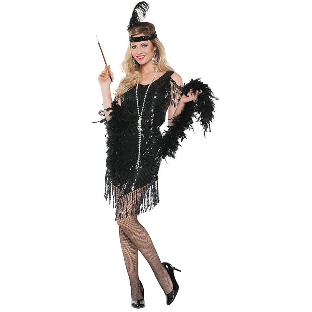 Женский черный костюм с пухом