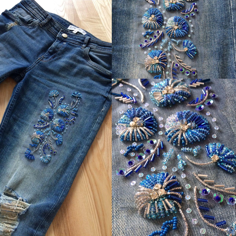 Азы ручной вышивки для украшения джинсов