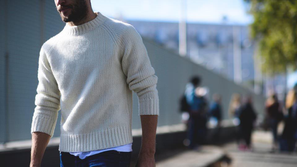 Белая мужская теплая кофта