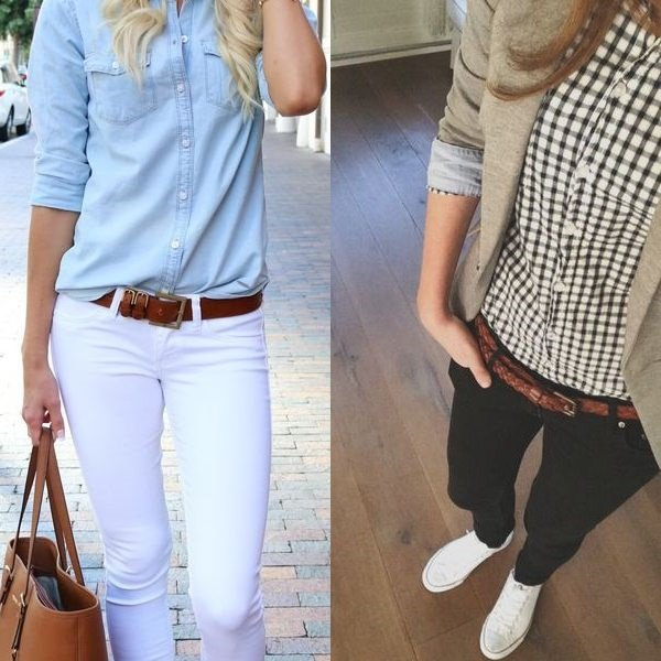 Белые и черные джинсы для девушки