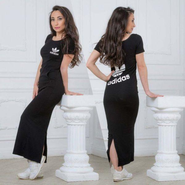 Черное красивое платье Адидас