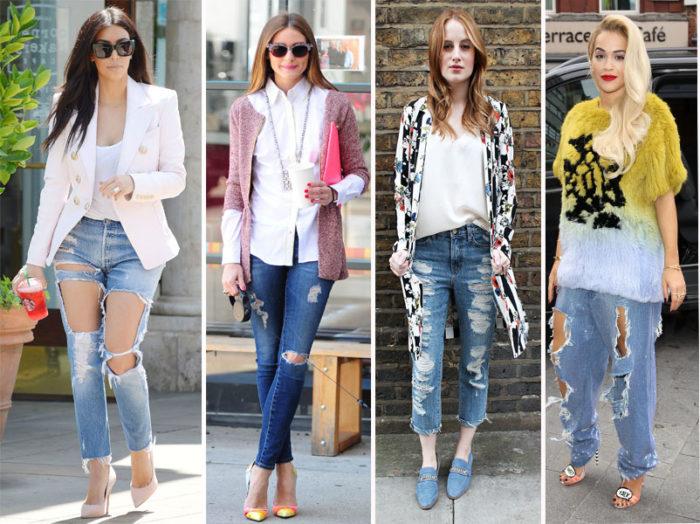 Что носить с рваными джинсами
