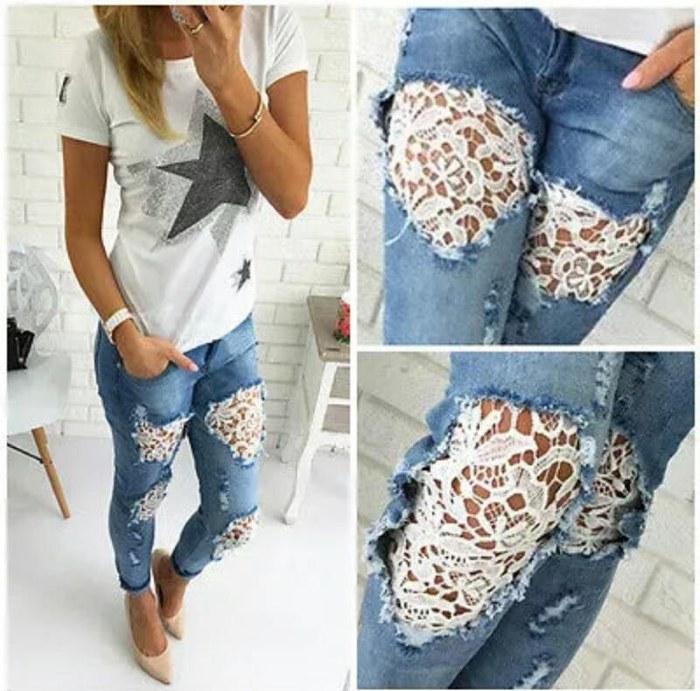 Украсить дырки на джинсах