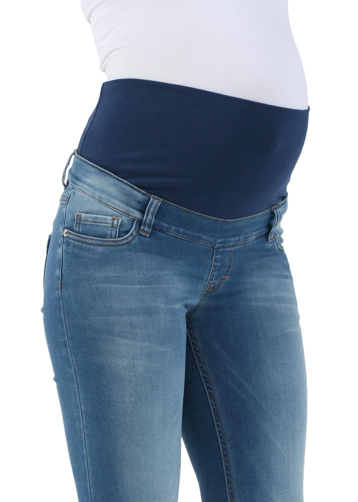 Джинсы голубые с отворотом для беременных