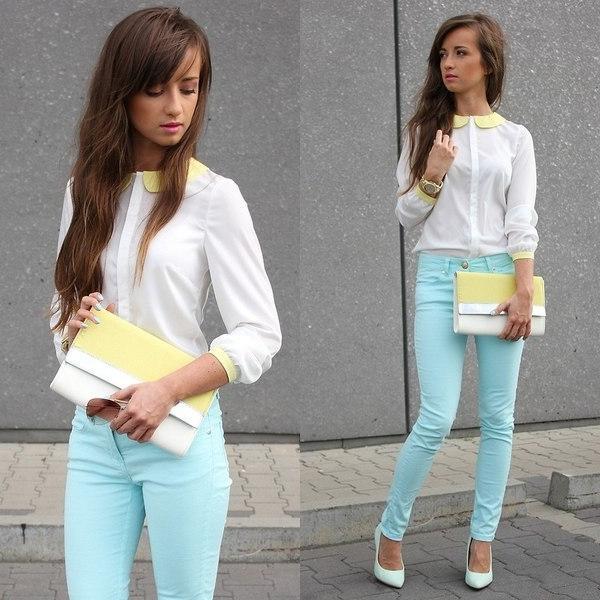 Голубые джинсы на лето 2018