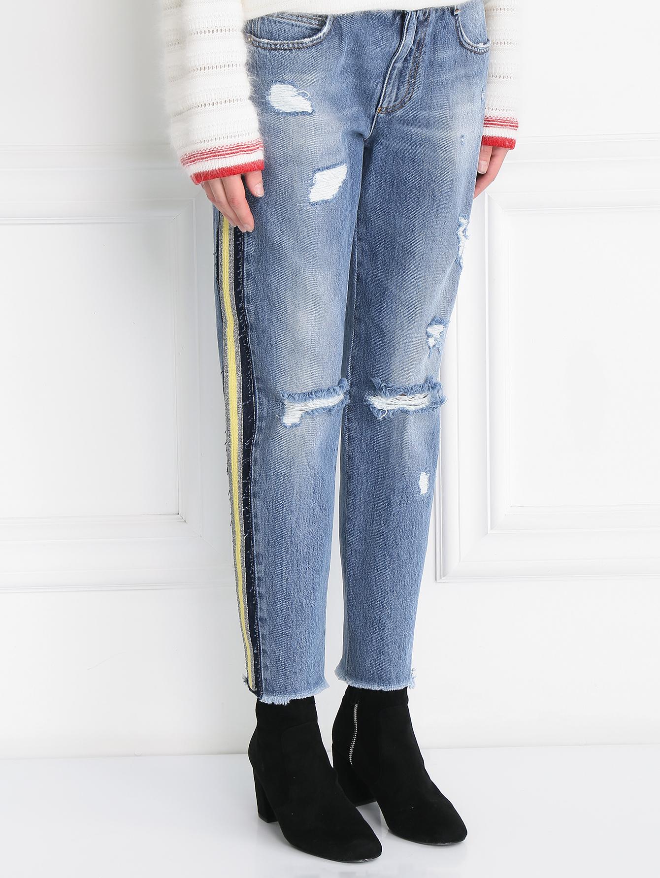 Хлопковые джинсы с лампасами