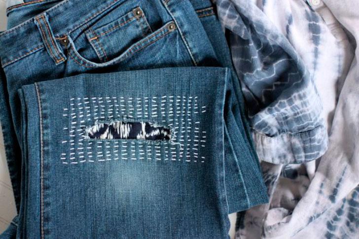 Как красиво залатать джинсы