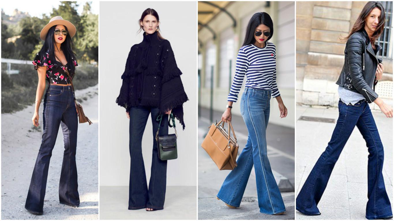 Как носить джинсы, расклешенные от колена
