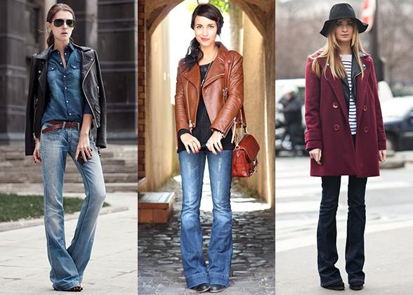 Как носить клешеные джинсы