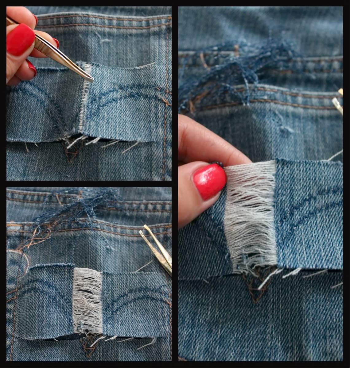 Как сделать дырки на шортах в домашних условиях