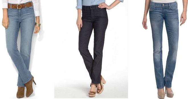 Классические прямые джинсы с завышенной талией