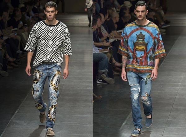 Классические прямые джинсы прекрасно выглядят на подиуме и в жизни