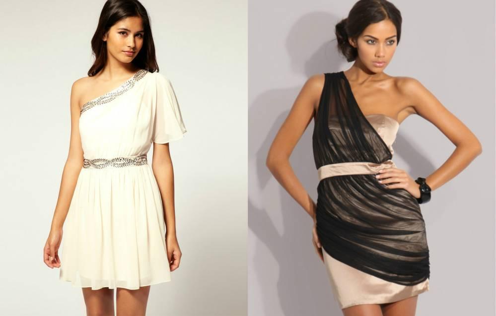 Короткие платья на одно плечо