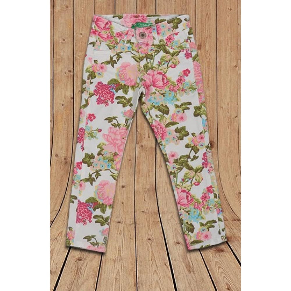 Летние брюки для девочки с цветочным принтом