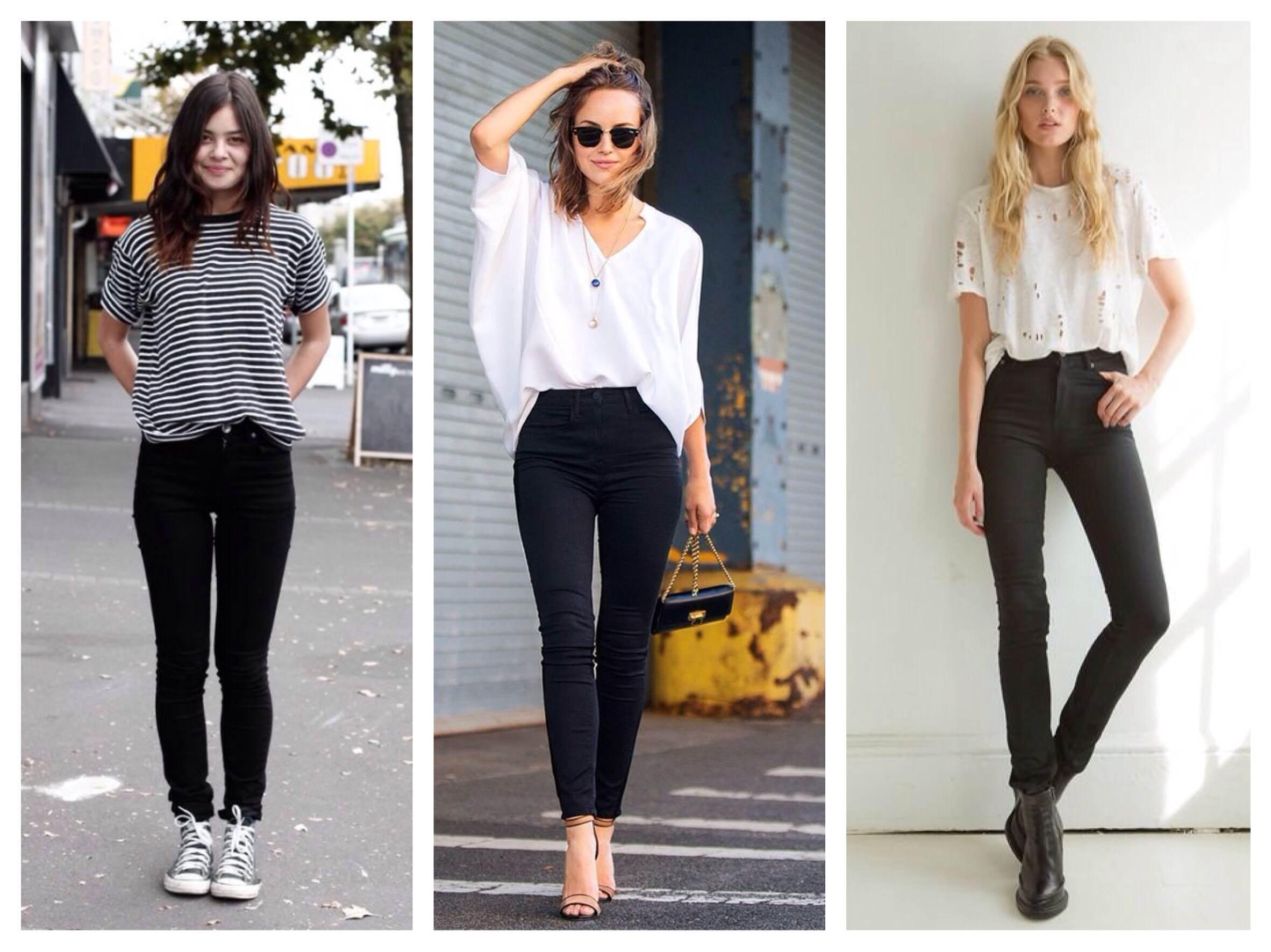 Лучше остановить свой выбор на черных, синих или зеленых джинсах скинни