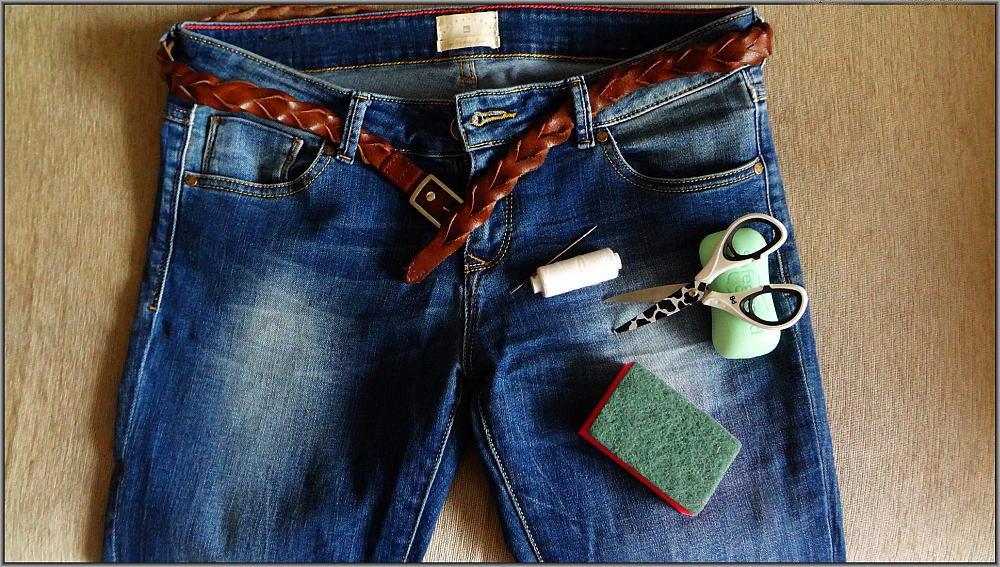Материалы и подручные средства для создания дырок на джинсах