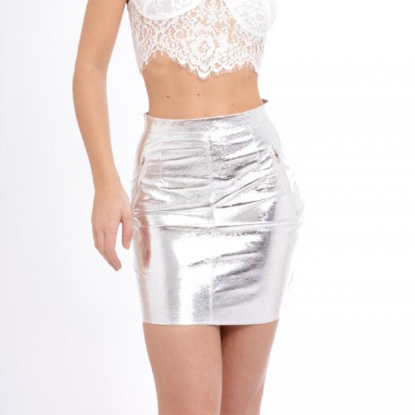 Мини-юбка с серебристый металлик