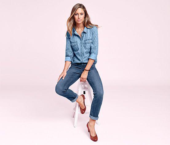 Модные прямые стрейч джинсы