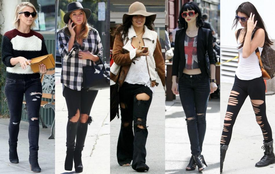 Модные женские рваные джинсы