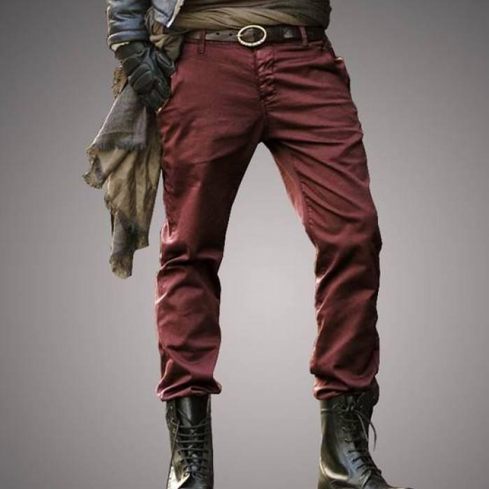 Мужские джинсы классические бордовые прямые