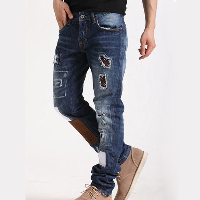 Мужские лоскутное джинсы