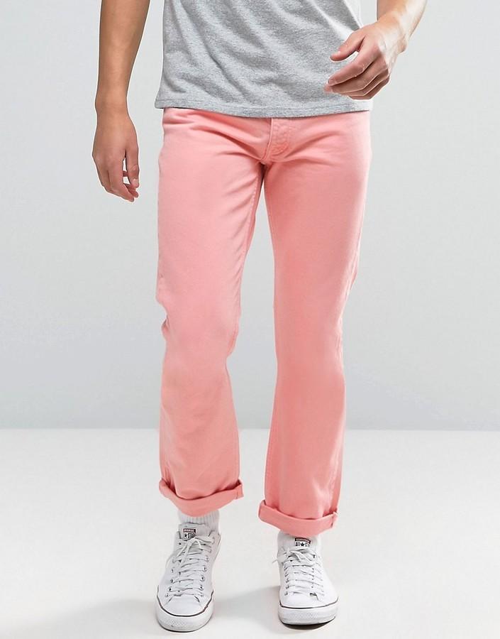Мужские розовые джинсы