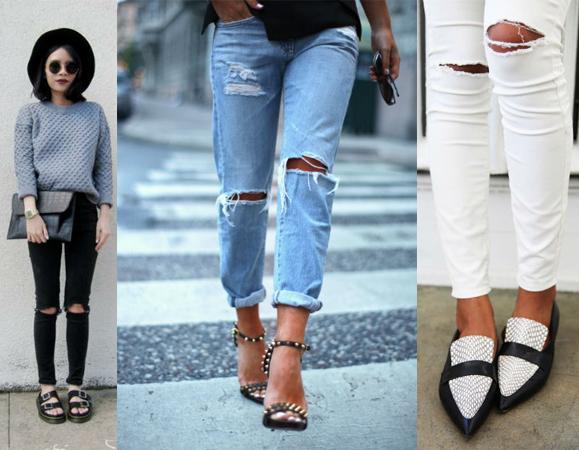 Обувь к джинсам рваных на коленях