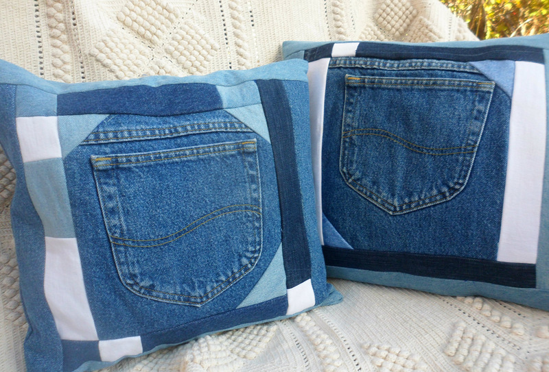 Подушки из джинса