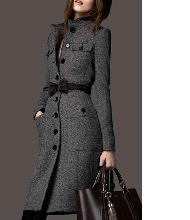 Приталенное стильное женское пальто