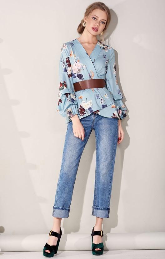 Прямые джинсы из осветленного денима с посадкой по талии