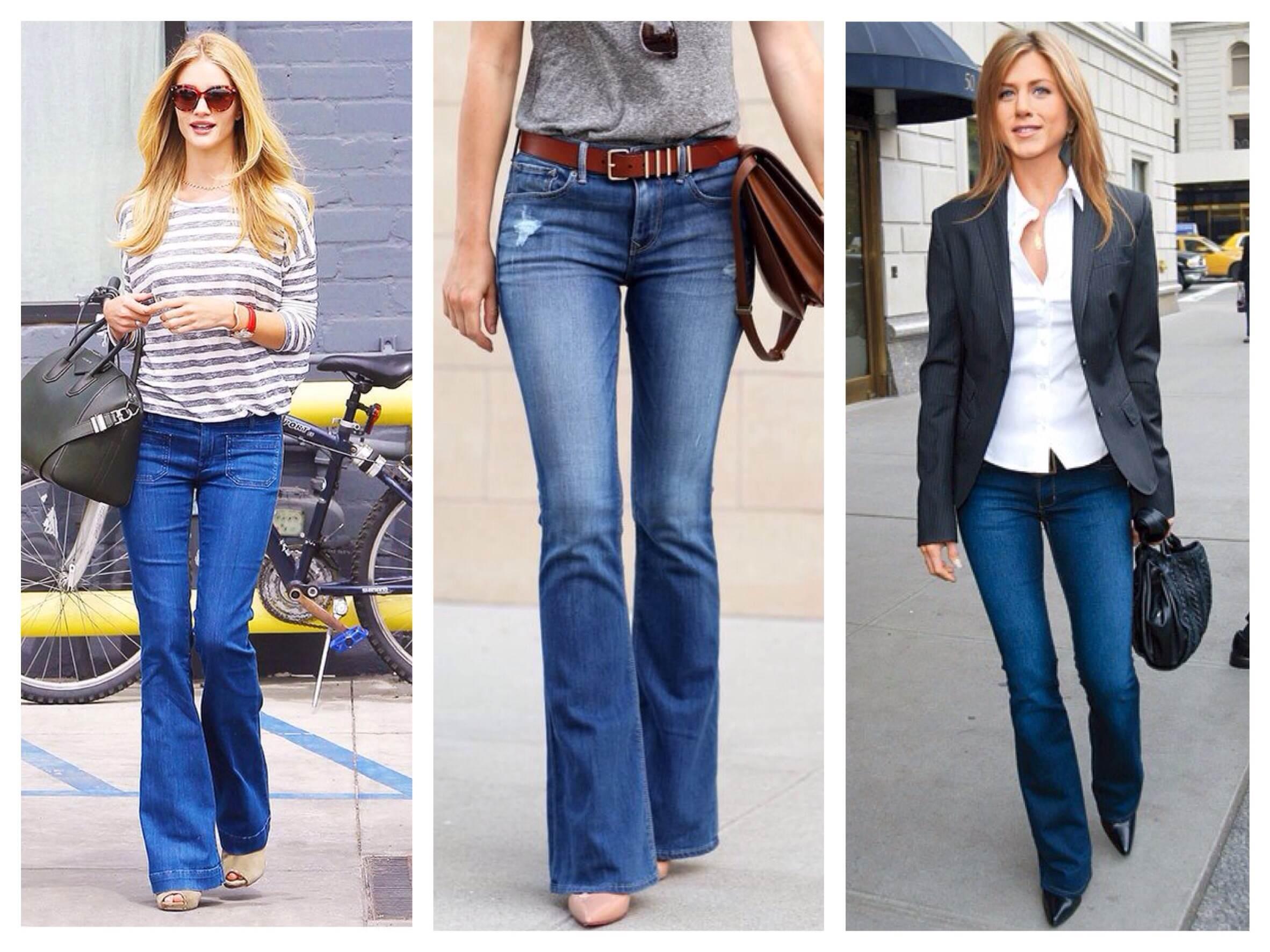 Расклешенные варианты джинс с обувью
