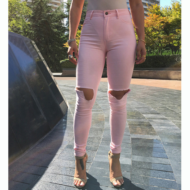 Розовые узкие джинсы средней посадки