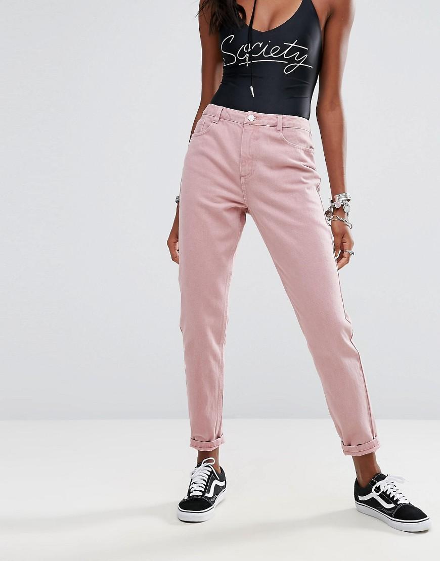 Розовые женские джинсы
