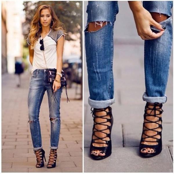 Рваные модные джинсы 2018