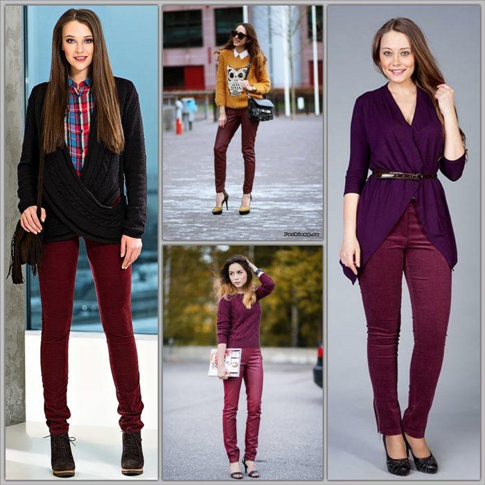 С чем носить бордовые джинсы разных моделей