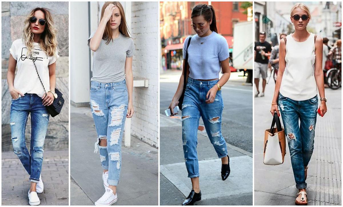 С чем носить джинсы-бойфренды осенью