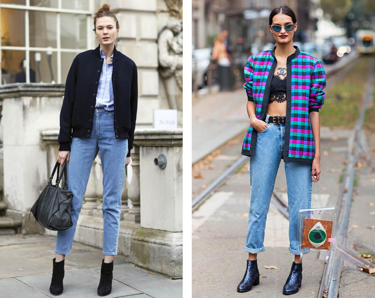 С чем носить классические джинсы с завышенной талией